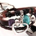 Silver heart charm leather ..