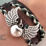 Heart & angel wings silver ..