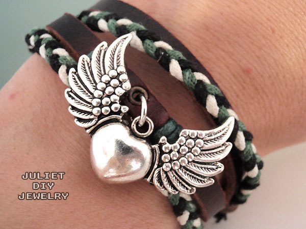 Heart & angel wings silver charm hemp woven leather bracelet