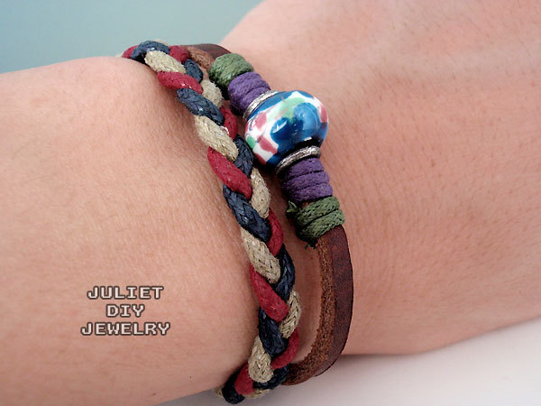 Unisex blue ceramic bead leather bracelet with hemp woven