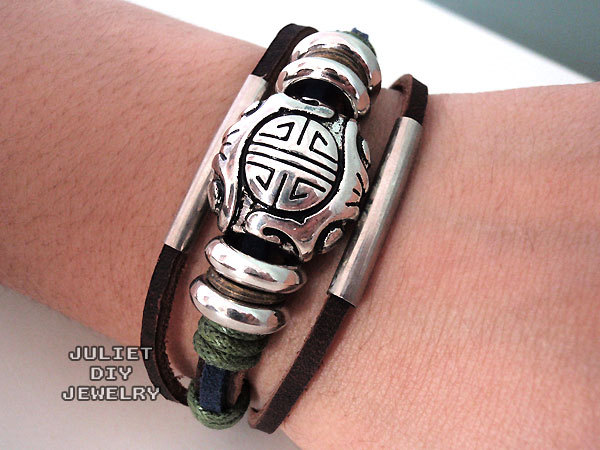 Unisex longevity leather bracelet