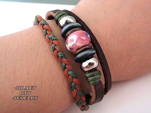 Unisex pink ceramic bead leather bracelet with green and orange hemp woven