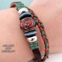 Brown ceramic bead leather bracelet with hemp woven