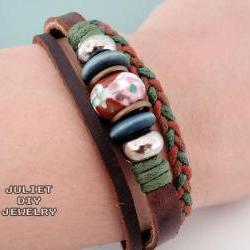 Unisex brown ceramic bead leather bracelet with hemp woven