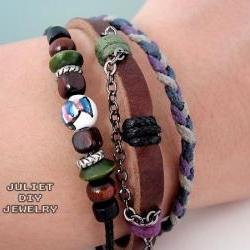 Leather bracelet hemp woven ceramic zen fish bead