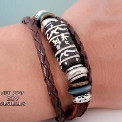 Wild life leather woven bracelet