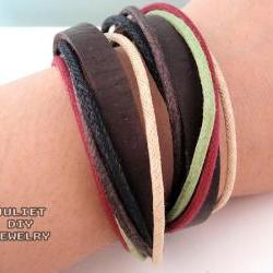 Colorful hemp cord multi strand wrap bracelet