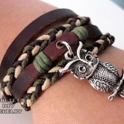 Owl charm bracelet hemp woven leather bracelet