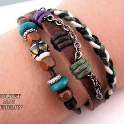Leather bracelet hemp woven ceramic zen bead