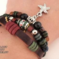 Starfish beaded multi-strand leather zen bracelet