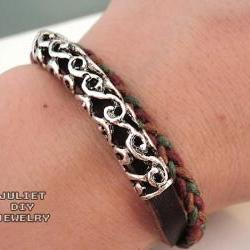 Simple hemp woven leather bracelet with vintage style silver tube
