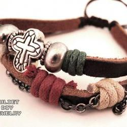 Cross bead bracelet leather hemp bracelet