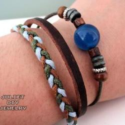 Dark blue stone and hemp woven leather bracelet
