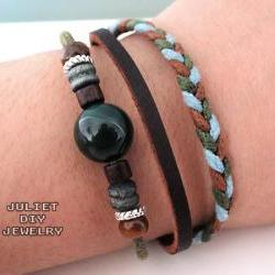 Dark green stone and hemp woven leather bracelet