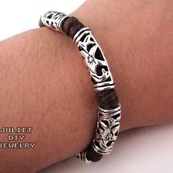 Tribal style silver tube hemp bracelet