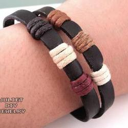 Simple leather zen bracelet